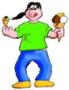 Caricatura di Michele con due gelati